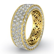 3 Row Women's Anniversary Band 18k Gold Yellow Pave Eternity Ring Diamond  (2.75Ct. tw.)