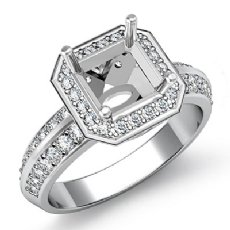 1Ct Diamond Engagement Ring Asscher Semi Mount 14k White Gold Halo Pave Setting