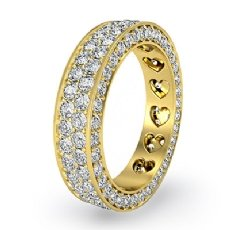 2 Row Women's Wedding Band Pave Diamond Heart Eternity 14k Gold Yellow Ring  (2Ct. tw.)
