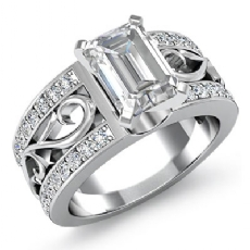 Sidestone Filigree Shank Emerald diamond engagement Ring in 14k Gold White