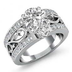 Sidestone Filigree Shank Pear diamond engagement Ring in 14k Gold White