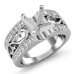 0.55Ct Asscher Diamond Fashion Wedding Ring 14k White Gold Semi Mount Pave Setting - javda.com