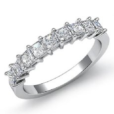 Princess Diamond Shared Prong Half Wedding Band Women's Ring 14k W Gold 0.75Ct