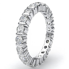 Round Diamond Bar Set Eternity Ring Women's Wedding Band 14k White Gold 1.5Ct