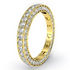 Women Anniversary Ring Pave Eternity Diamond Wedding Band 18k Gold Yellow  (1.25Ct. tw.)