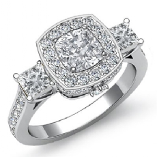 Halo Three Stone Side-Stone Cushion diamond engagement Ring in 14k Gold White