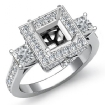 Diamond Three Stone Engagement Round Princess Ring 14k White Gold Halo Setting 1.1Ct - javda.com