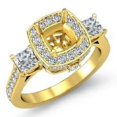 Diamond 3 Stone Engagement Princess Cushion Ring 18k Gold Yellow Halo Setting  (1.1Ct. tw.)