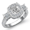 Diamond 3 Stone Engagement Princess Cushion Ring 14k White Gold Halo Setting 1.1Ct - javda.com