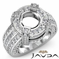 Round Semi Mount Diamond Engagement Halo Pave Setting Ring Platinum 950 (2.9Ct. tw.)