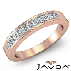 Half Wedding Womens Band Princess Channel Set Diamond Ring 18k Rose Gold  (0.9Ct. tw.)