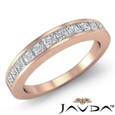 Princess Channel Set Diamond Womens Half Wedding Band Ring 14k Rose Gold  (0.7Ct. tw.)