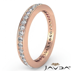 Classic Round Pave Diamond Wedding Band 18k Rose Gold Women's Eternity Ring  (0.4Ct. tw.)