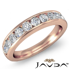 Diamond Women's Half Wedding Band 18k Rose Gold Round Channel Setting Ring  (1Ct. tw.)