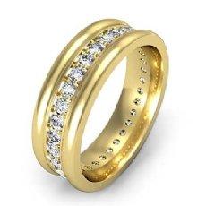 Pave Set Diamond Eternity Men's Wedding Band Round Edges 14k Gold Yellow  (1Ct. tw.)