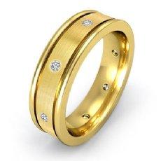 Brushed Center Bezel Diamond Men's Eternity Wedding Band 14k Gold Yellow  (0.2Ct. tw.)