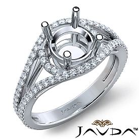 U Shared Prong Diamond Engagement Ring Round Semi Mount 14k White Gold 0.9Ct