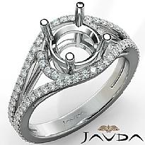 U Shared Prong Diamond Engagement Ring Round Semi Mount 14k White Gold 0.9Ct