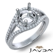 U Shared Prong Diamond Engagement Ring Round Semi Mount 14k White Gold 0.65Ct - javda.com