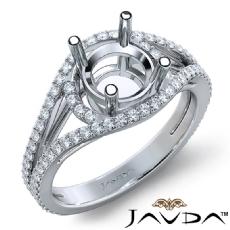 U Shared Prong Diamond Engagement Ring Round Semi Mount Platinum 950  (0.65Ct. tw.)