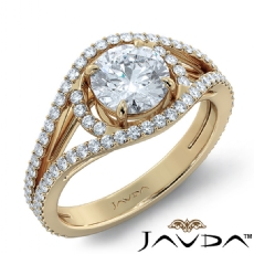 Bypass Halo Pave Split Shank Round diamond engagement Ring in 14k Gold Yellow