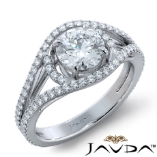 Bypass Halo Pave Split Shank Round diamond engagement Ring in 18k Gold White
