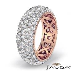 14k Rose Gold Women Wedding Eternity Ring Round Diamond Engagement Band  (3.95Ct. tw.)