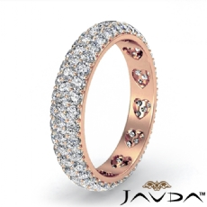3 Row Women's Eternity Wedding Band 18k Rose Gold Round Diamond Pave Ring  (1.5Ct. tw.)