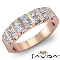 Princess Cut Diamond Bar Set Women's Wedding Band Ring 14k Rose Gold  (1.15Ct. tw.)