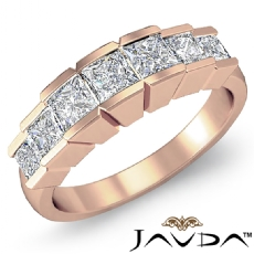 Princess Square Channel Diamond Women's Wedding Ring in 14k Rose Gold Band  (1Ct. tw.)