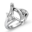 Round Marquise Diamond Three Stone Engagement Semi Mount Ring 14k White Gold 0.2Ct - javda.com