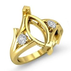 Round Marquise Diamond Three Stone Engagement Semi Mount Ring 18k Gold Yellow  (0.2Ct. tw.)