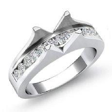 0.60Ct Diamond Channel Setting Engagement Ring 14K White Gold Emerald Semi Mount