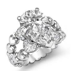 Classic Heart Split Shank Pear diamond engagement Ring in 14k Gold White