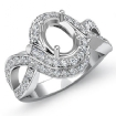 1Ct Diamond Engagement Antique Ring Oval Semi Mount 14k White Gold Halo Setting - javda.com