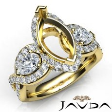 Three 3 Stone Diamond Anniversary Pear Marquise Semi Mount Ring 14k Gold Yellow  (1.4Ct. tw.)