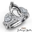 Three 3 Stone Diamond Anniversary Pear Marquise Semi Mount Ring 14k White Gold 1.4Ct - javda.com