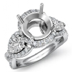 Three 3 Stone Diamond Anniversary Pear Round Semi Mount Ring 14k White Gold 1.4Ct - javda.com