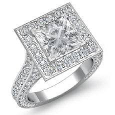 Princess diamond engagement Ring in 14k Gold White