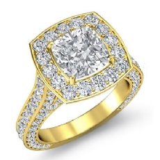 Halo Micro Pave Bridge Accent diamond Ring 14k Gold Yellow
