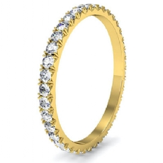 Micro Prong Round Diamond Women Eternity Ring 18k Gold Yellow Wedding Band  (0.6Ct. tw.)