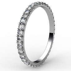 Micro Prong Round Diamond Women Eternity Ring 14k White Gold Wedding Band 0.6Ct