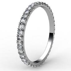 Micro Prong Round Diamond Women Eternity Ring 14k White Gold Wedding Band 0.6Ct