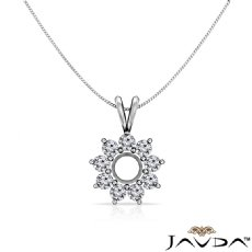 Flower Cluster Round Cut Semi Mount Double Bail Pendant 14k White Gold