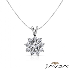 Flower Cluster Double Bail Round diamond  Pendant in 14k Gold White