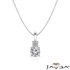 Round diamond  Pendant in 14k Gold White