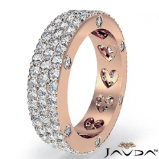 Bezel Pave 3Row Round Diamond Ring Womens Eternity Wedding Band 14k Rose Gold  (2.4Ct. tw.)