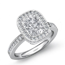 Circa Halo Pave Setting Cushion diamond engagement Ring in 14k Gold White