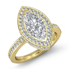 Crown Halo Petite Pave Set Marquise diamond  Ring in 14k Gold Yellow