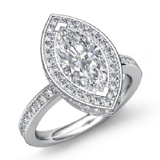 Circa Halo Pave Setting Marquise diamond engagement Ring in 14k Gold White